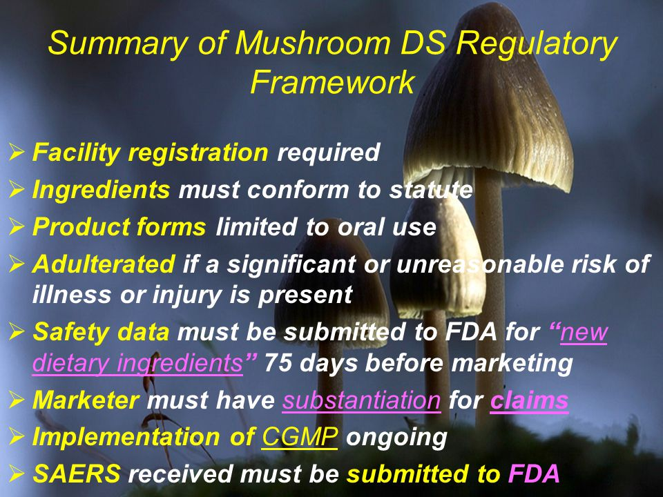 Summary of Mushroom DS Regulatory Framework  Facility registration required  Ingredients must conform to statute  Product forms limited to oral use  Adulterated if a significant or unreasonable risk of illness or injury is present  Safety data must be submitted to FDA for new dietary ingredients 75 days before marketing  Marketer must have substantiation for claims  Implementation of CGMP ongoing  SAERS received must be submitted to FDA