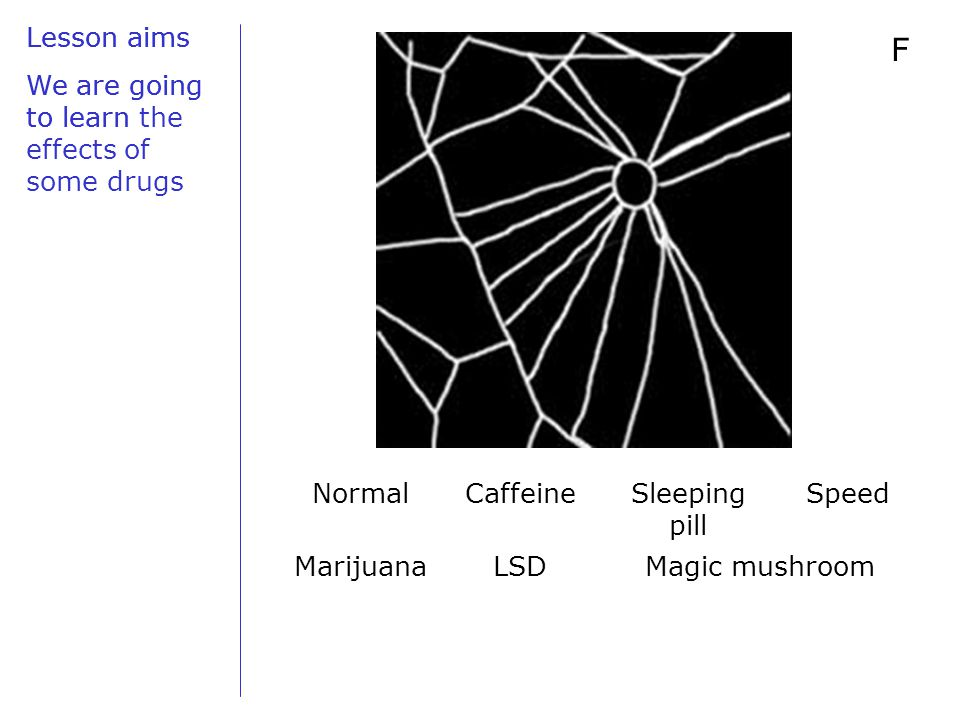 Lesson aims We are going to learn F NormalCaffeineSleeping pill Speed MarijuanaLSDMagic mushroom Lesson aims We are going to learn the effects of some drugs