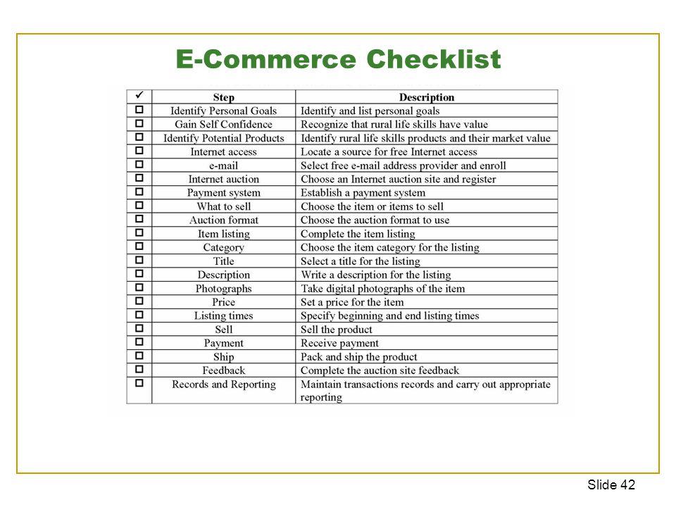 Slide 42 E-Commerce Checklist