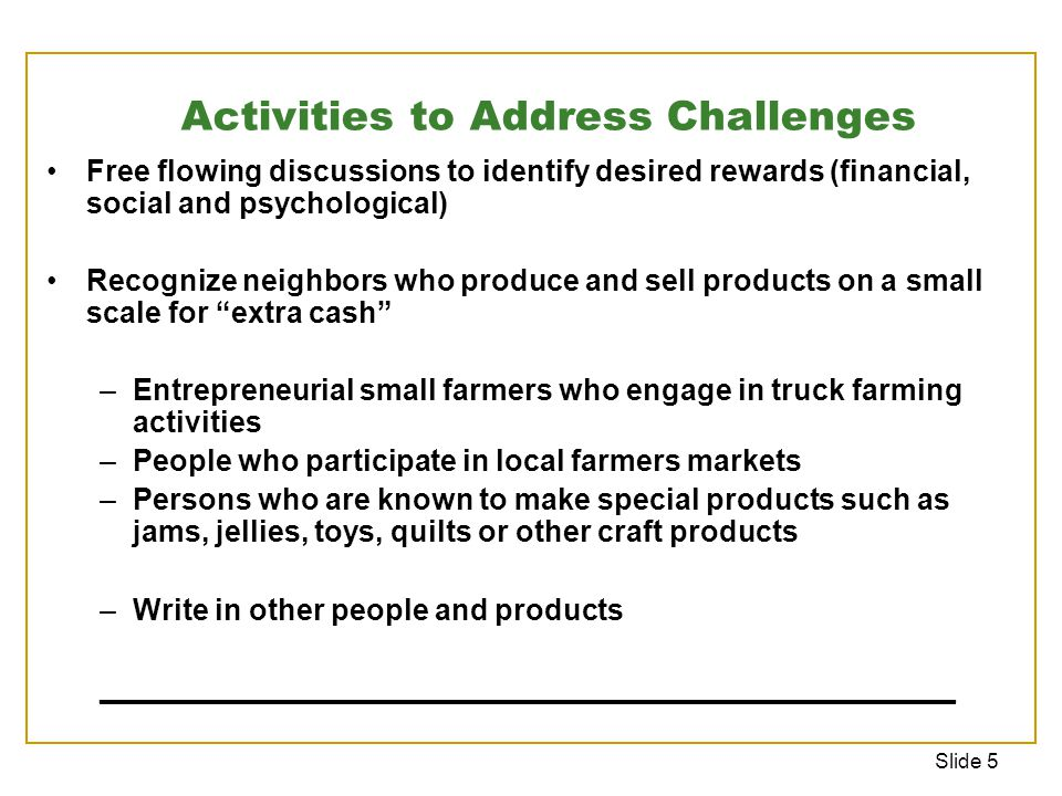 Slide 5 Free flowing discussions to identify desired rewards (financial, social and psychological) Recognize neighbors who produce and sell products on a small scale for extra cash –Entrepreneurial small farmers who engage in truck farming activities –People who participate in local farmers markets –Persons who are known to make special products such as jams, jellies, toys, quilts or other craft products –Write in other people and products ____________________________________________________ Activities to Address Challenges