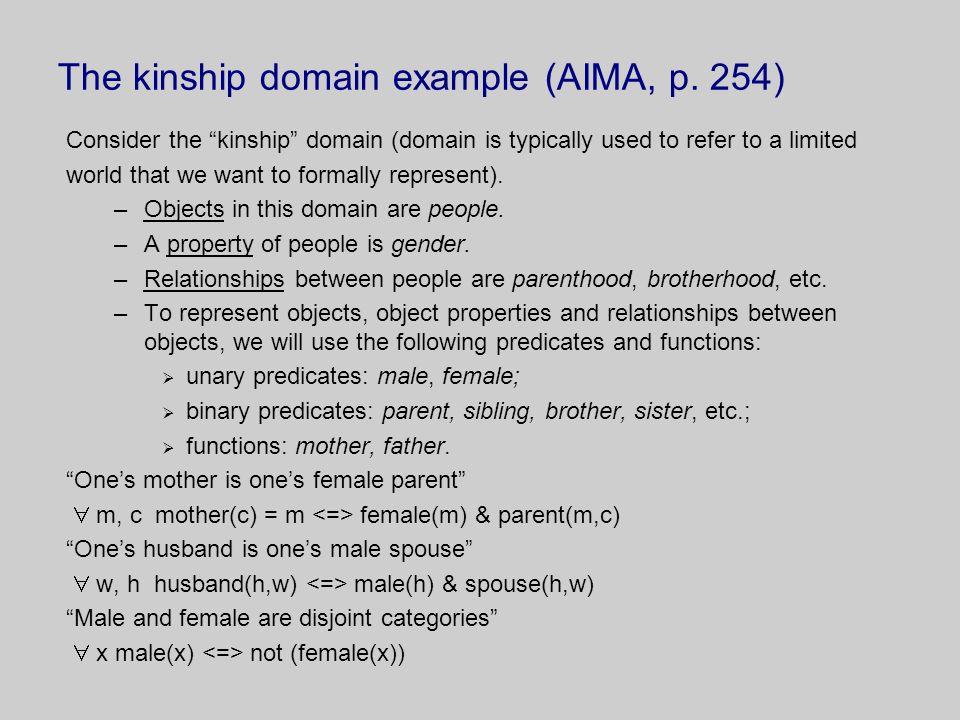 The kinship domain example (AIMA, p.