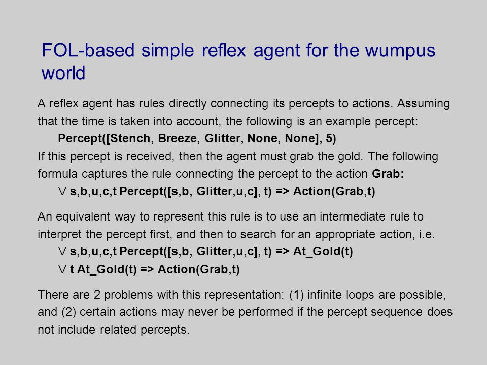 FOL-based simple reflex agent for the wumpus world A reflex agent has rules directly connecting its percepts to actions.