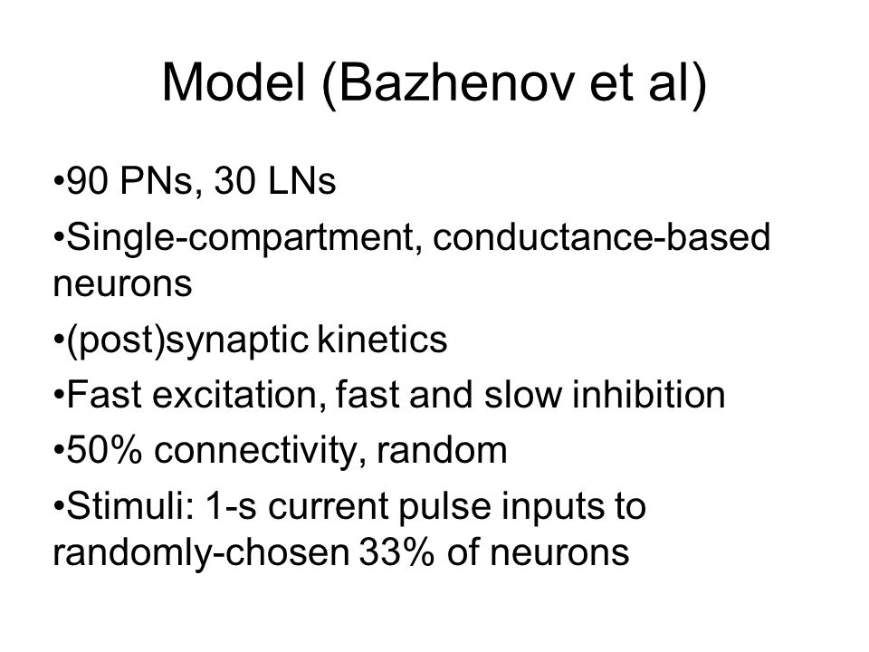 Model (Bazhenov et al) 90 PNs, 30 LNs Single-compartment, conductance-based neurons (post)synaptic kinetics Fast excitation, fast and slow inhibition 50% connectivity, random Stimuli: 1-s current pulse inputs to randomly-chosen 33% of neurons