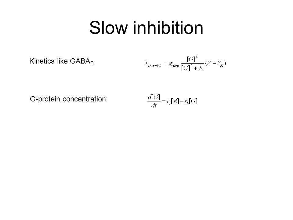 Slow inhibition Kinetics like GABA B G-protein concentration: