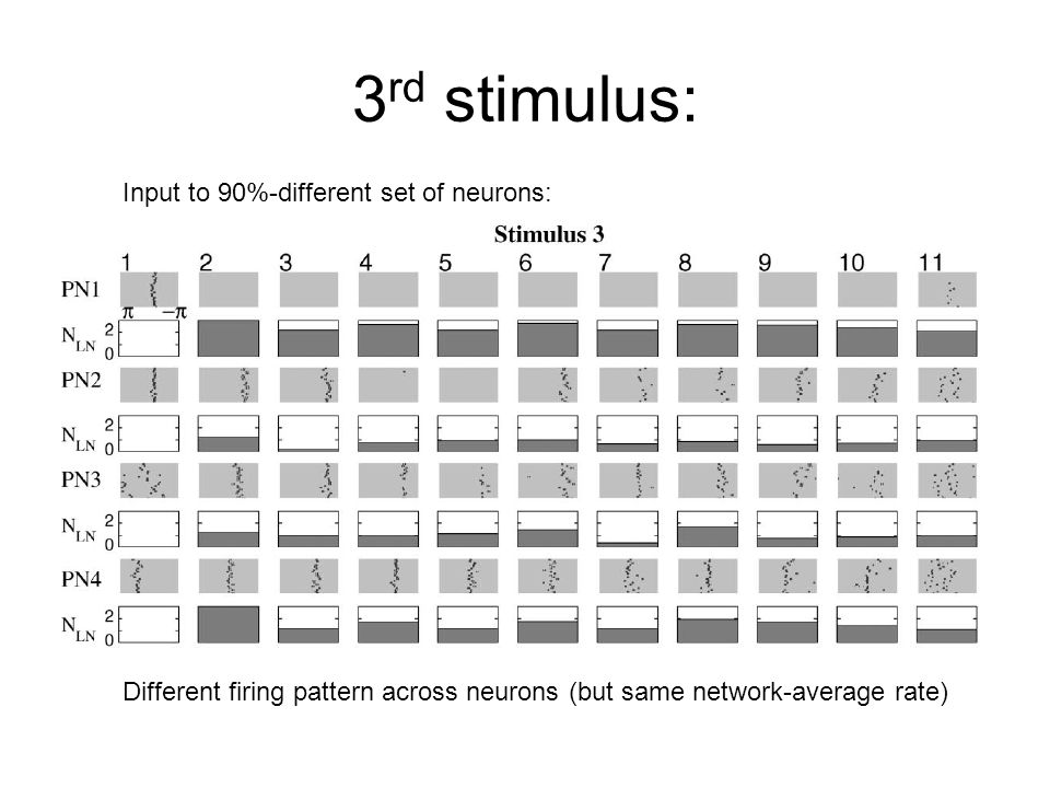 3 rd stimulus: Input to 90%-different set of neurons: Different firing pattern across neurons (but same network-average rate)