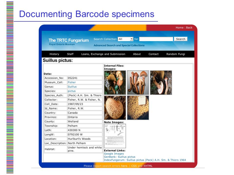 Documenting Barcode specimens