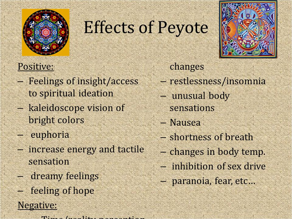 Effects of Peyote Positive: – Feelings of insight/access to spiritual ideation – kaleidoscope vision of bright colors – euphoria – increase energy and