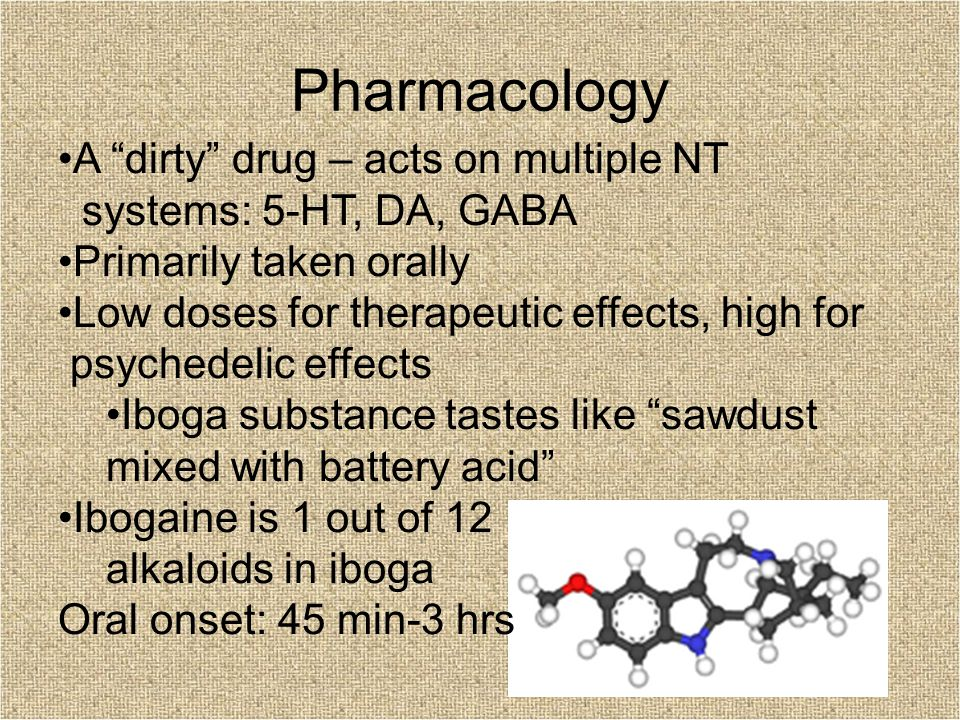 Pharmacology A dirty drug – acts on multiple NT systems: 5-HT, DA, GABA Primarily taken orally Low doses for therapeutic effects, high for psychedelic effects Iboga substance tastes like sawdust mixed with battery acid Ibogaine is 1 out of 12 alkaloids in iboga Oral onset: 45 min-3 hrs