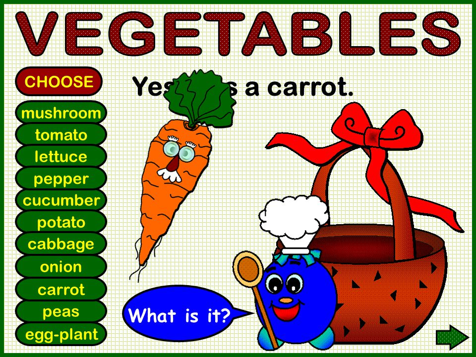 mushroom tomato lettuce cucumber potato cabbage onion pepper CHOOSE Yes! It is a carrot. peas egg-plant carrot What is it?