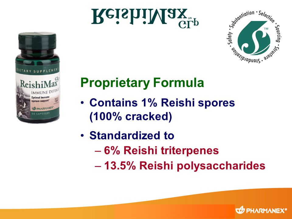 Proprietary Formula Contains 1% Reishi spores (100% cracked) Standardized to –6% Reishi triterpenes –13.5% Reishi polysaccharides