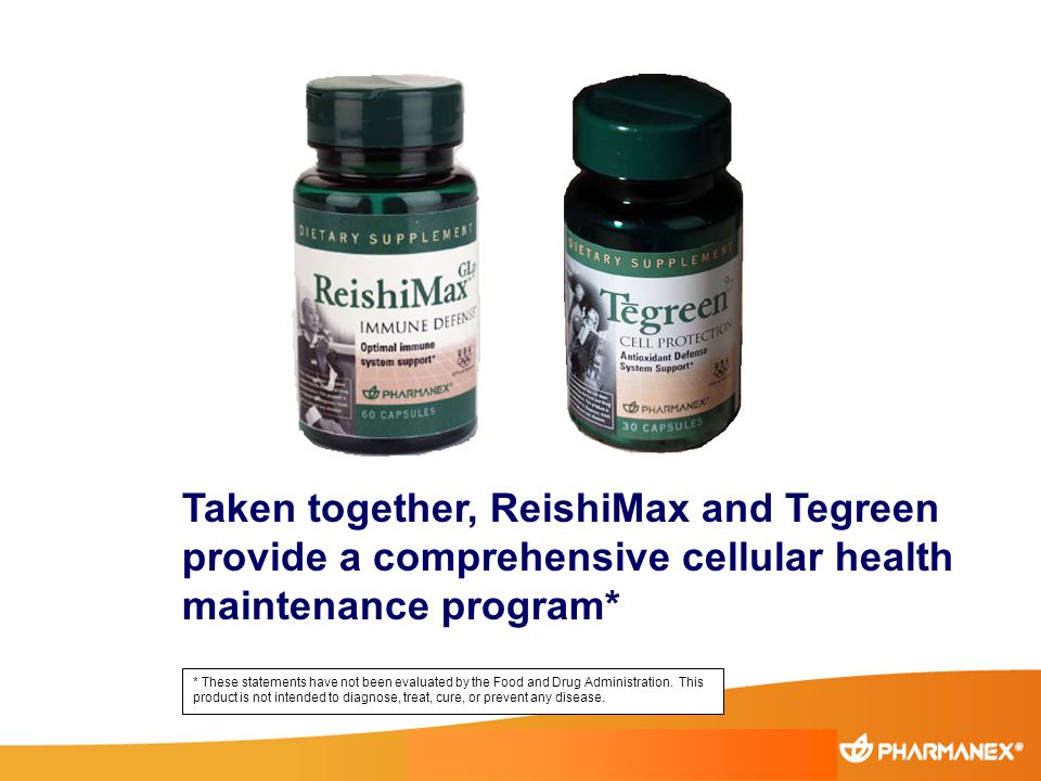 Taken together, ReishiMax and Tegreen provide a comprehensive cellular health maintenance program* * These statements have not been evaluated by the F
