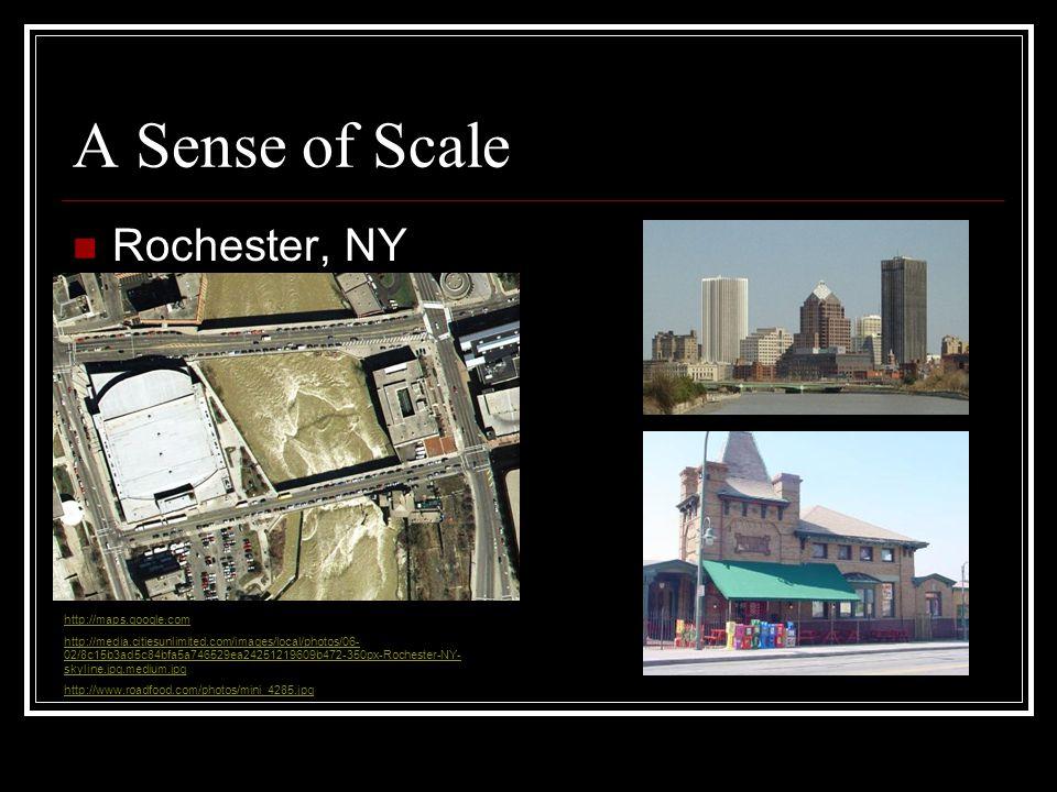 A Sense of Scale Rochester, NY http://maps.google.com http://media.citiesunlimited.com/images/local/photos/06- 02/8c15b3ad5c84bfa5a746529ea24251219609b472-350px-Rochester-NY- skyline.jpg.medium.jpg http://www.roadfood.com/photos/mini_4285.jpg