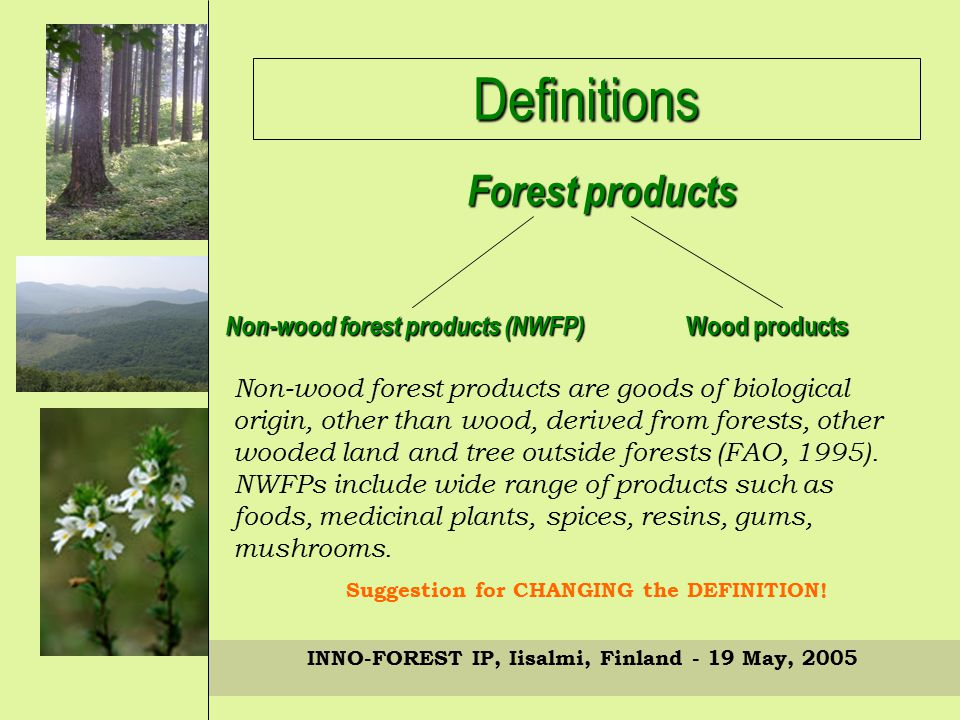 Definitions Non-wood forest products (NWFP) Wood products Forest products INNO-FOREST IP, Iisalmi, Finland - 19 May, 2005 Non-wood forest products are goods of biological origin, other than wood, derived from forests, other wooded land and tree outside forests (FAO, 1995).