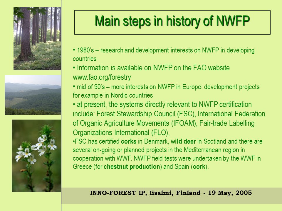 INNO-FOREST IP, Iisalmi, Finland - 19 May, 2005 1980's – research and development interests on NWFP in developing countries Information is available on NWFP on the FAO website www.fao.org/forestry mid of 90's – more interests on NWFP in Europe: development projects for example in Nordic countries at present, the systems directly relevant to NWFP certification include: Forest Stewardship Council (FSC), International Federation of Organic Agriculture Movements (IFOAM), Fair-trade Labelling Organizations International (FLO), FSC has certified corks in Denmark, wild deer in Scotland and there are several on-going or planned projects in the Mediterranean region in cooperation with WWF.