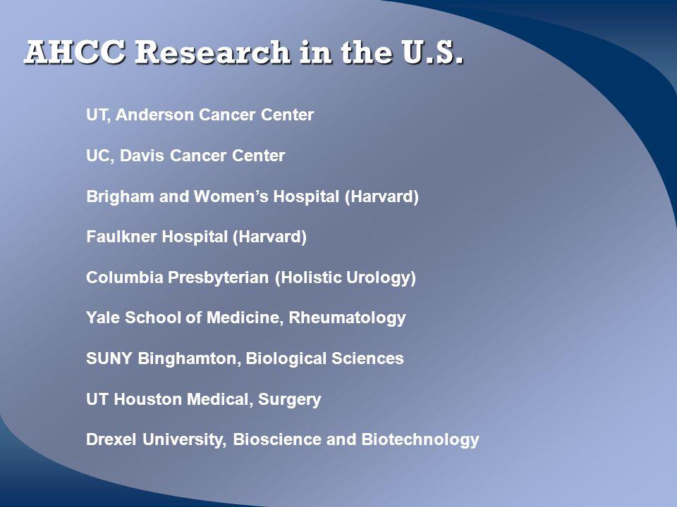 AHCC Research in the U.S. UT, Anderson Cancer Center UC, Davis Cancer Center Brigham and Women's Hospital (Harvard) Faulkner Hospital (Harvard) Columb