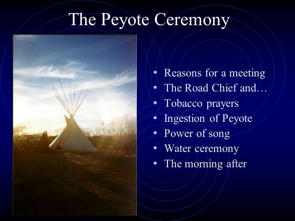 The Peyote Ceremony Reasons for a meeting The Road Chief and… Tobacco prayers Ingestion of Peyote Power of song Water ceremony The morning after