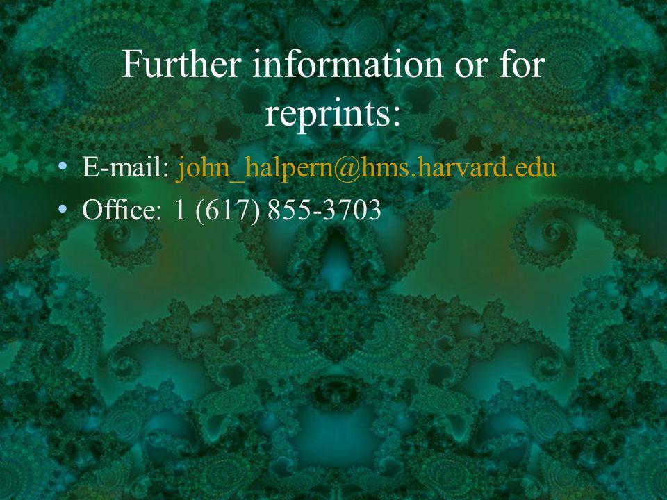 Further information or for reprints: E-mail: john_halpern@hms.harvard.edu Office: 1 (617) 855-3703