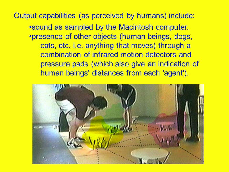 sound as sampled by the Macintosh computer. presence of other objects (human beings, dogs, cats, etc. i.e. anything that moves) through a combination