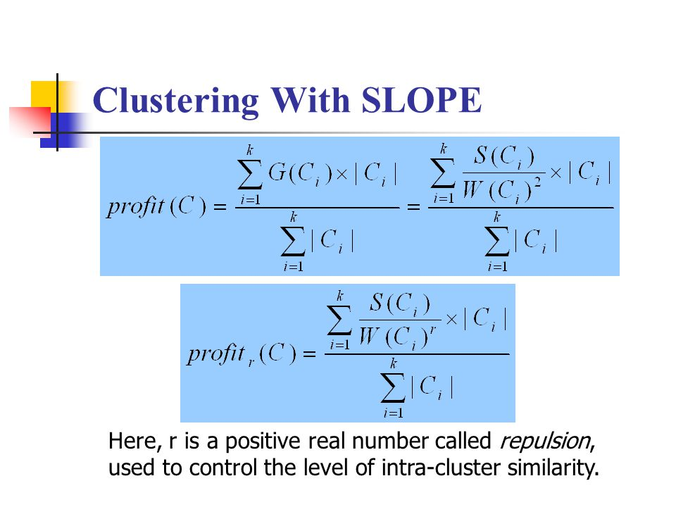 Here, r is a positive real number called repulsion, used to control the level of intra-cluster similarity.