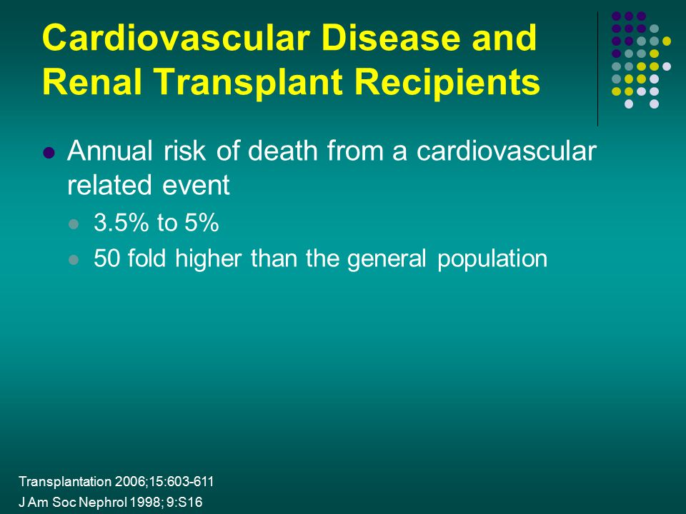 Cardiovascular Disease and Renal Transplant Recipients Annual risk of death from a cardiovascular related event 3.5% to 5% 50 fold higher than the gen