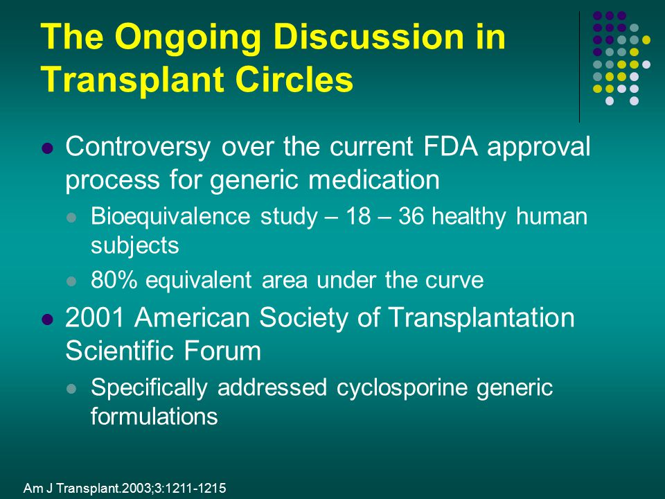 The Ongoing Discussion in Transplant Circles Controversy over the current FDA approval process for generic medication Bioequivalence study – 18 – 36 h