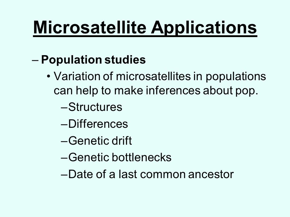 Microsatellite Applications –Population studies Variation of microsatellites in populations can help to make inferences about pop.