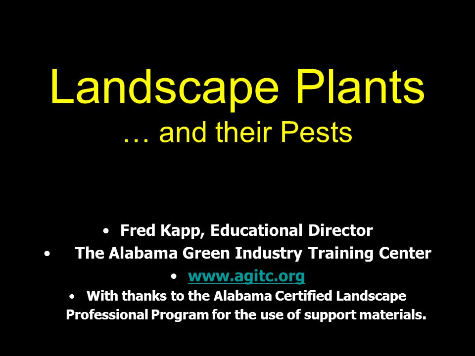 Landscape Plants … and their Pests Fred Kapp, Educational Director The Alabama Green Industry Training Center www.agitc.org With thanks to the Alabama