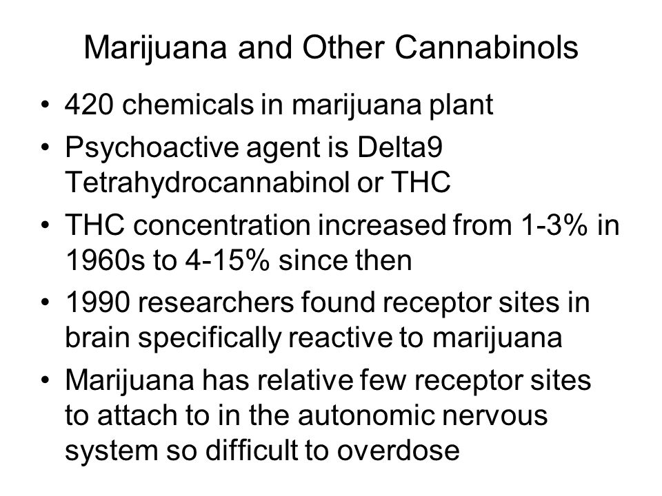 Marijuana and Other Cannabinols 420 chemicals in marijuana plant Psychoactive agent is Delta9 Tetrahydrocannabinol or THC THC concentration increased