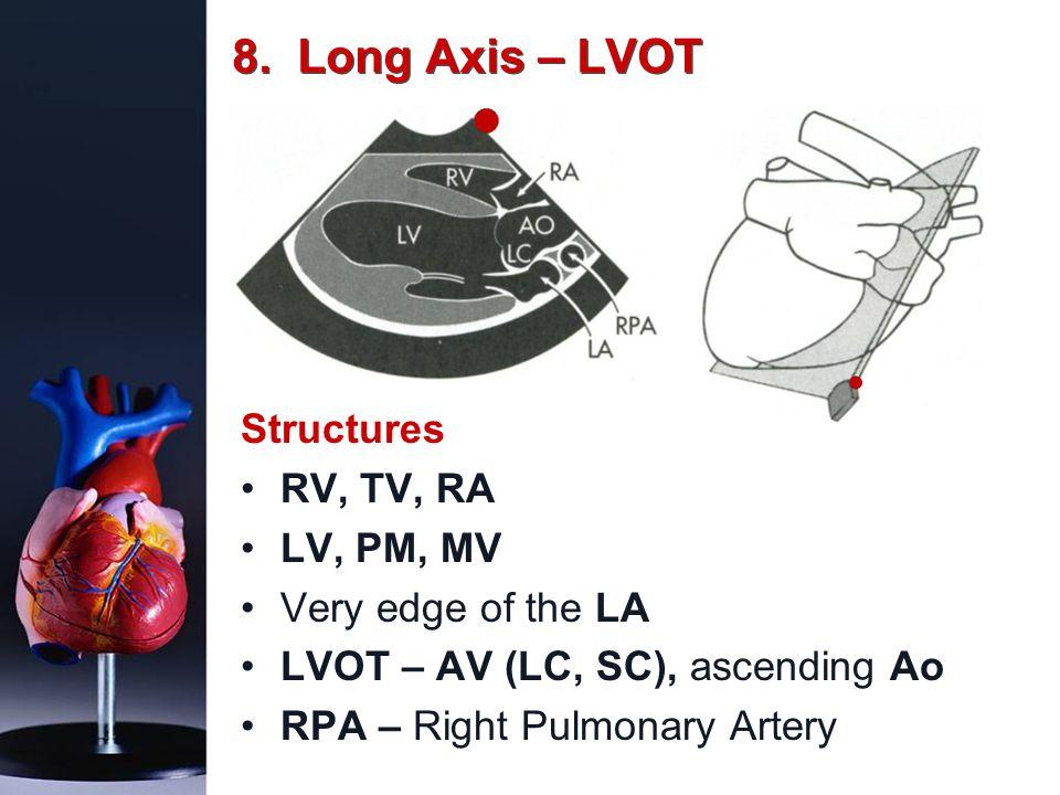 8. Long Axis – LVOT Structures RV, TV, RA LV, PM, MV Very edge of the LA LVOT – AV (LC, SC), ascending Ao RPA – Right Pulmonary Artery