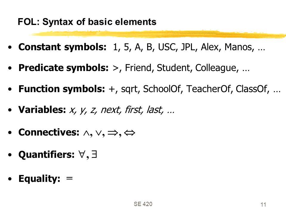 SE 420 11 FOL: Syntax of basic elements Constant symbols: 1, 5, A, B, USC, JPL, Alex, Manos, … Predicate symbols: >, Friend, Student, Colleague, … Function symbols: +, sqrt, SchoolOf, TeacherOf, ClassOf, … Variables: x, y, z, next, first, last, … Connectives: , , ,  Quantifiers: ,  Equality: =