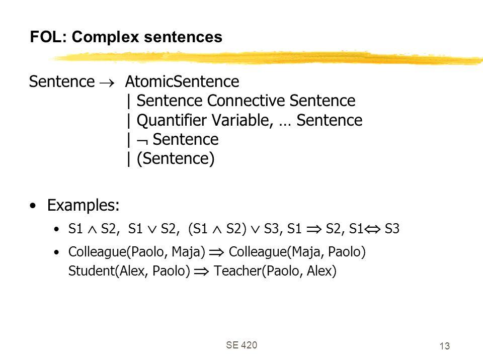 SE 420 13 FOL: Complex sentences Sentence  AtomicSentence | Sentence Connective Sentence | Quantifier Variable, … Sentence |  Sentence | (Sentence) Examples: S1  S2, S1  S2, (S1  S2)  S3, S1  S2, S1  S3 Colleague(Paolo, Maja)  Colleague(Maja, Paolo) Student(Alex, Paolo)  Teacher(Paolo, Alex)