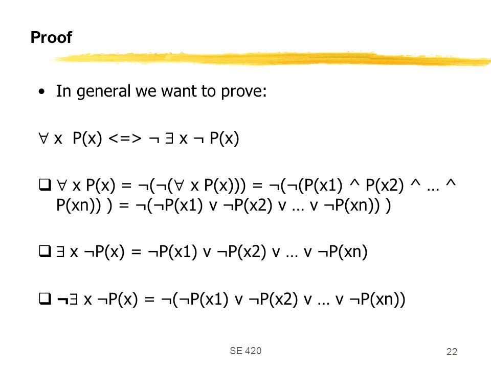 SE 420 22 Proof In general we want to prove:  x P(x) ¬  x ¬ P(x)   x P(x) = ¬(¬(  x P(x))) = ¬(¬(P(x1) ^ P(x2) ^ … ^ P(xn)) ) = ¬(¬P(x1) v ¬P(x2) v … v ¬P(xn)) )   x ¬P(x) = ¬P(x1) v ¬P(x2) v … v ¬P(xn)  ¬  x ¬P(x) = ¬(¬P(x1) v ¬P(x2) v … v ¬P(xn))
