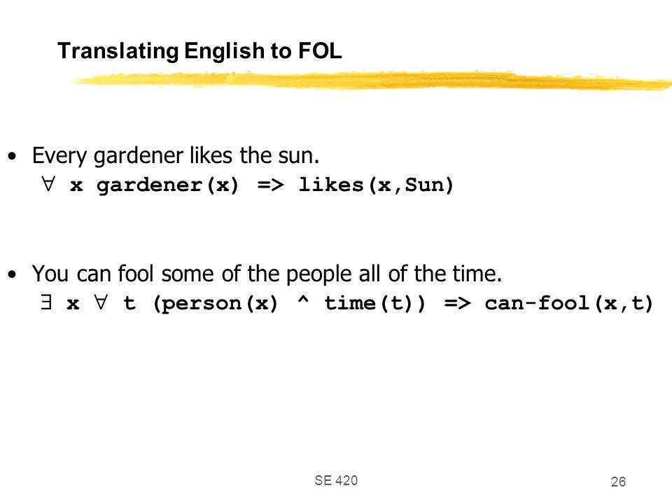 SE 420 26 Translating English to FOL Every gardener likes the sun.