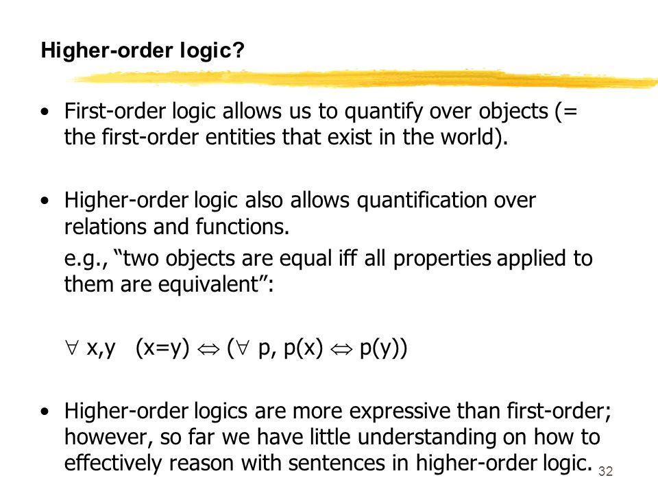 SE 420 32 Higher-order logic.