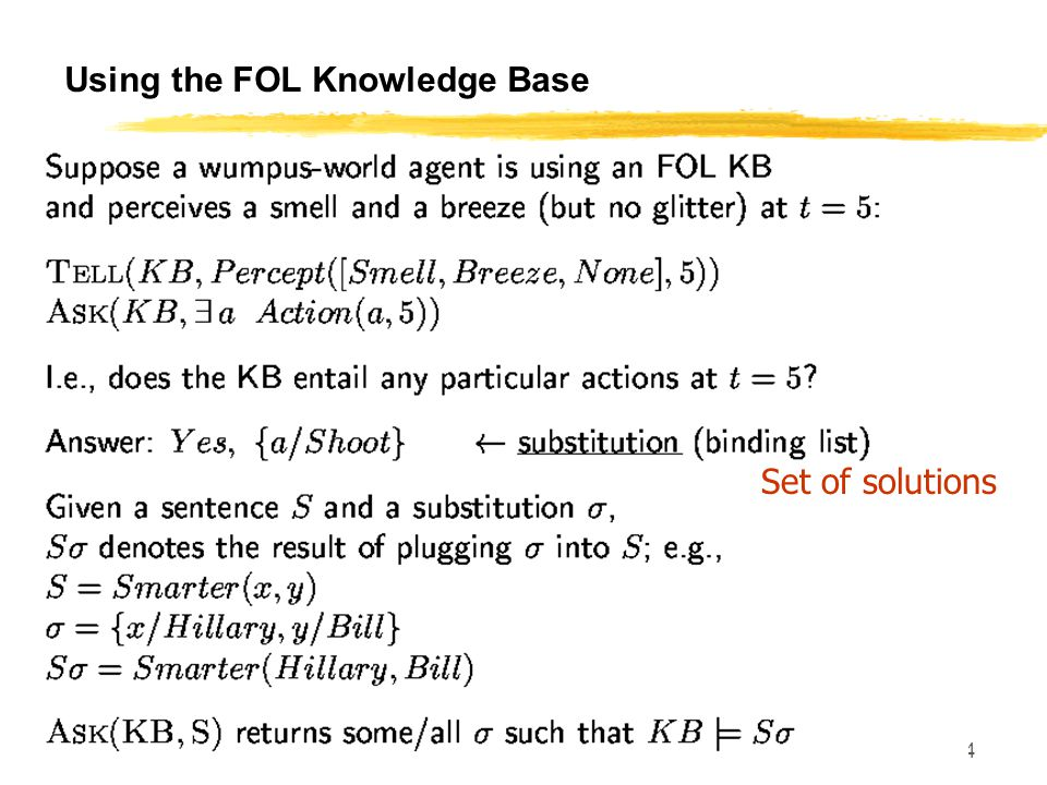 SE 420 34 Using the FOL Knowledge Base Set of solutions