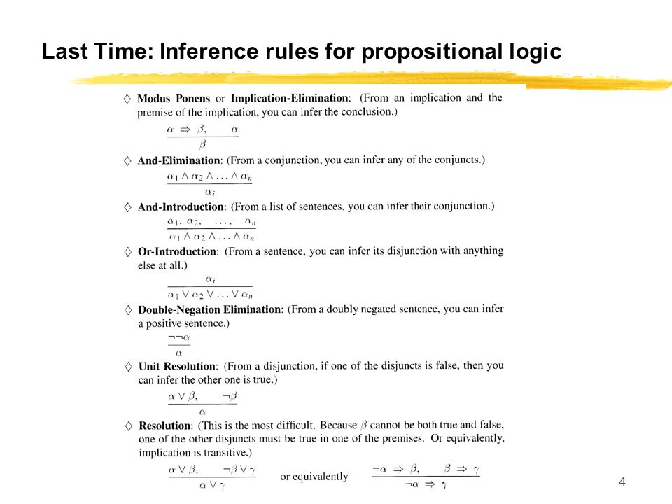 SE 420 4 Last Time: Inference rules for propositional logic