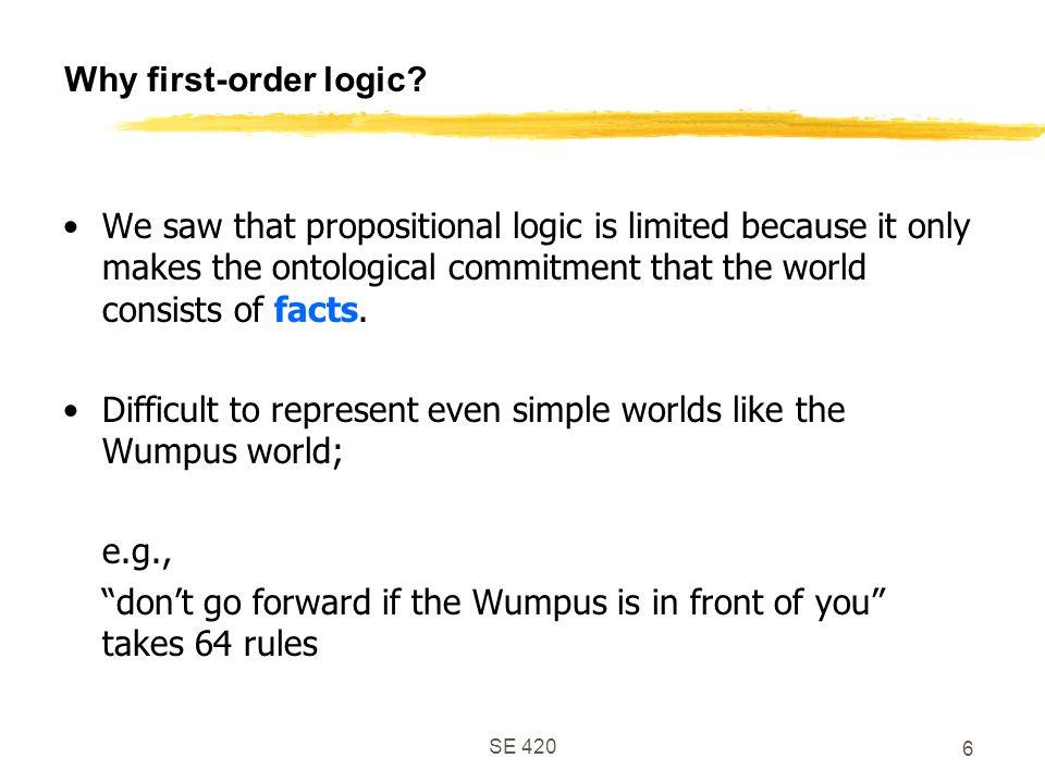 SE 420 6 Why first-order logic.