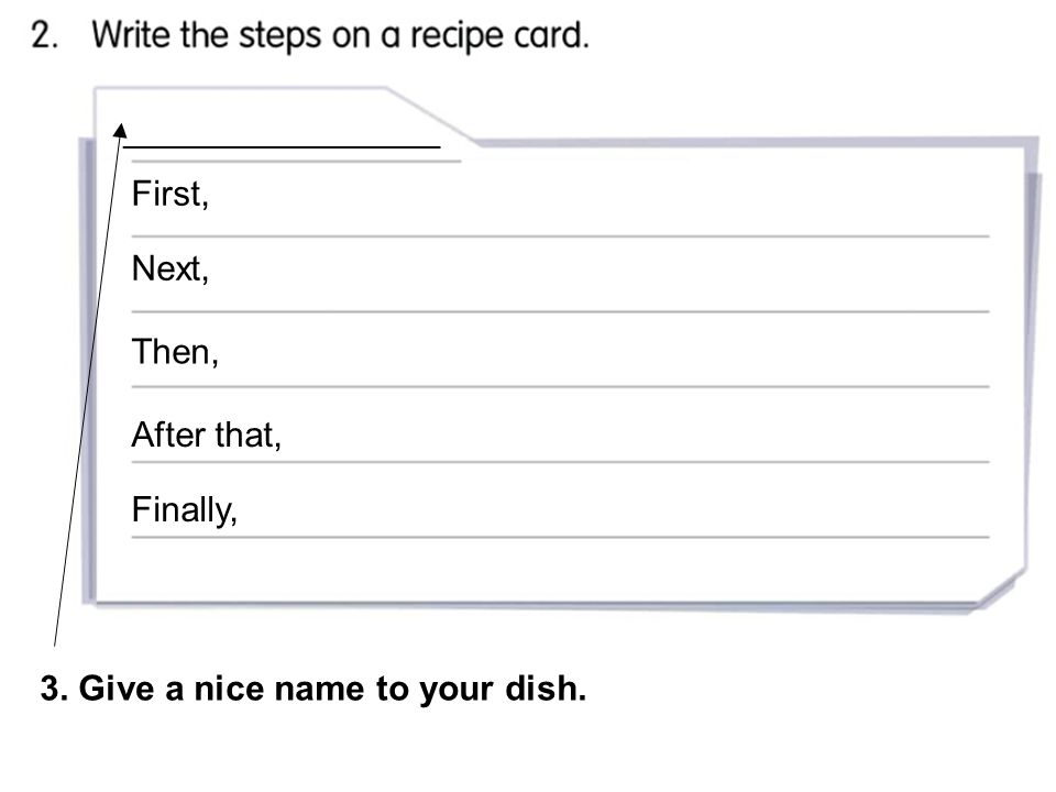 ______________________ First, Next, Then, After that, Finally, 3. Give a nice name to your dish.