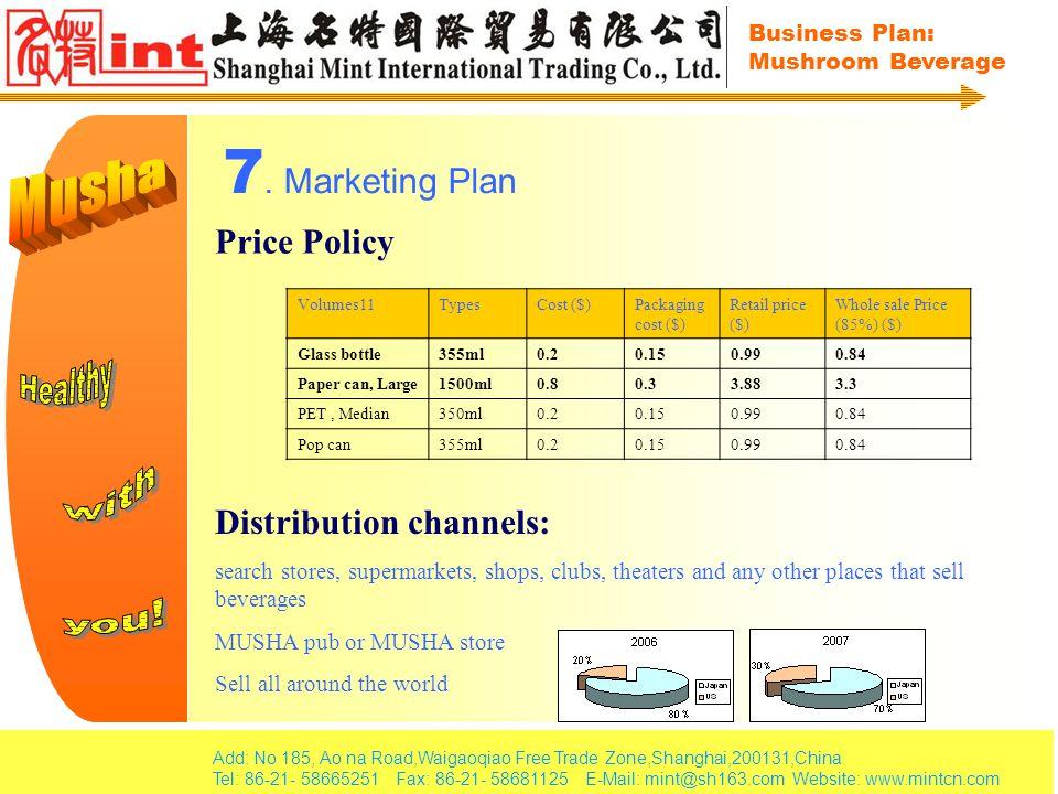 Add: No 185, Ao na Road,Waigaoqiao Free Trade Zone,Shanghai,200131,China Tel: 86-21- 58665251 Fax: 86-21- 58681125 E-Mail: mint@sh163.com Website: www.mintcn.com Business Plan: Mushroom Beverage 7.
