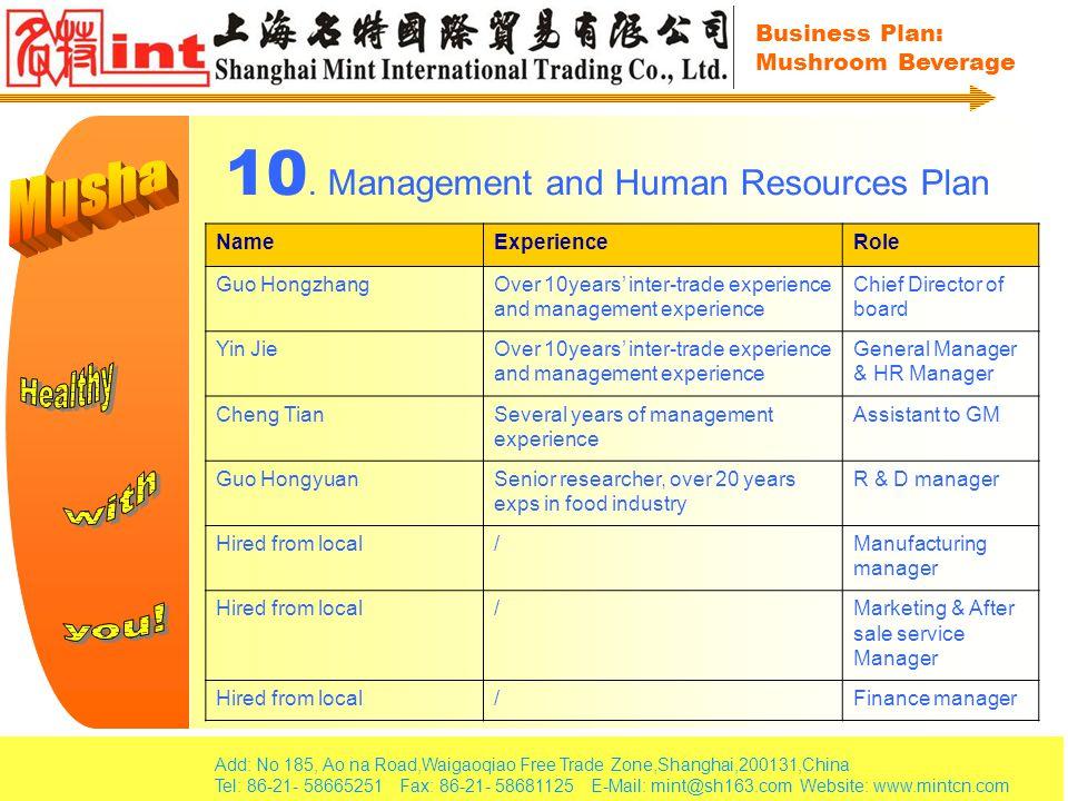Add: No 185, Ao na Road,Waigaoqiao Free Trade Zone,Shanghai,200131,China Tel: 86-21- 58665251 Fax: 86-21- 58681125 E-Mail: mint@sh163.com Website: www.mintcn.com Business Plan: Mushroom Beverage 10.