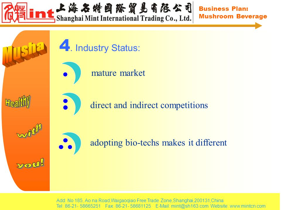 Add: No 185, Ao na Road,Waigaoqiao Free Trade Zone,Shanghai,200131,China Tel: 86-21- 58665251 Fax: 86-21- 58681125 E-Mail: mint@sh163.com Website: www.mintcn.com Business Plan: Mushroom Beverage 5.