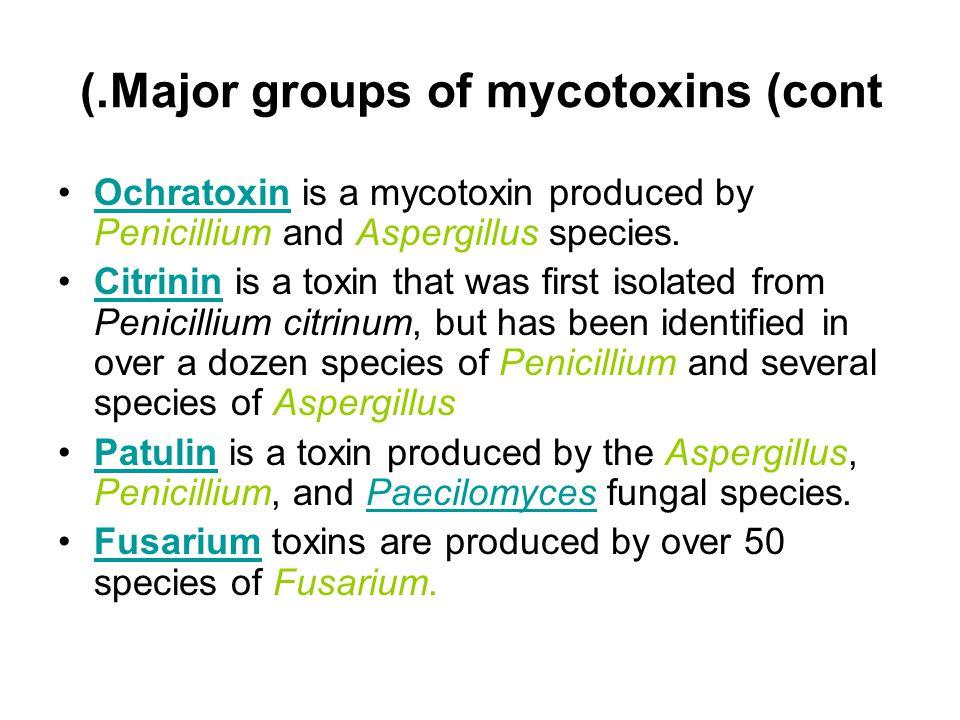 Major groups of mycotoxins (cont.) Ochratoxin is a mycotoxin produced by Penicillium and Aspergillus species.Ochratoxin Citrinin is a toxin that was f