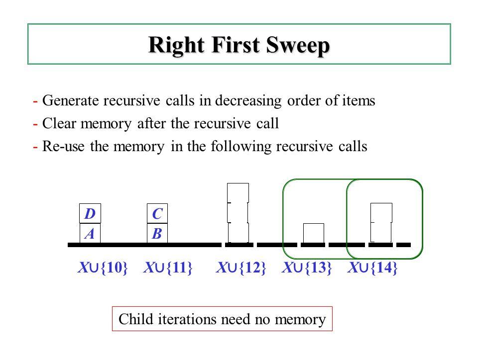 - Generate recursive calls in decreasing order of items - Clear memory after the recursive call - Re-use the memory in the following recursive calls R