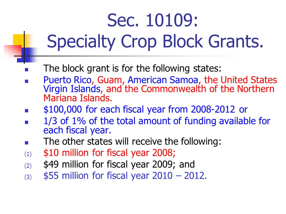Sec.10109: Specialty Crop Block Grants.