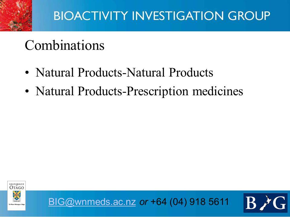 10 BIG@wnmeds.ac.nzBIG@wnmeds.ac.nz or +64 (04) 918 5611 Combinations Natural Products-Natural Products Natural Products-Prescription medicines