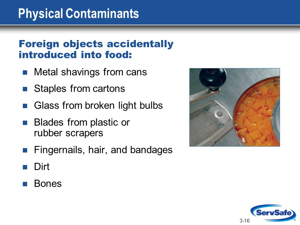 3-16 Physical Contaminants Foreign objects accidentally introduced into food: Metal shavings from cans Staples from cartons Glass from broken light bulbs Blades from plastic or rubber scrapers Fingernails, hair, and bandages Dirt Bones