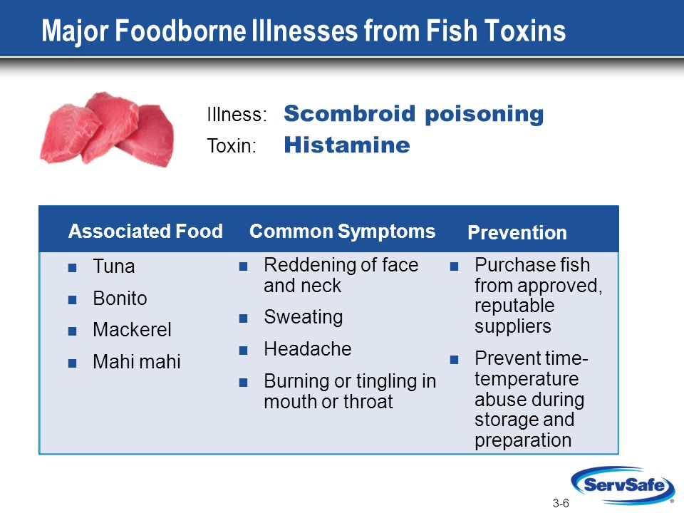 3-6 Major Foodborne Illnesses from Fish Toxins Illness: Scombroid poisoning Toxin: Histamine Tuna Bonito Mackerel Mahi mahi Reddening of face and neck Sweating Headache Burning or tingling in mouth or throat Purchase fish from approved, reputable suppliers Prevent time- temperature abuse during storage and preparation Associated Food Common Symptoms Prevention