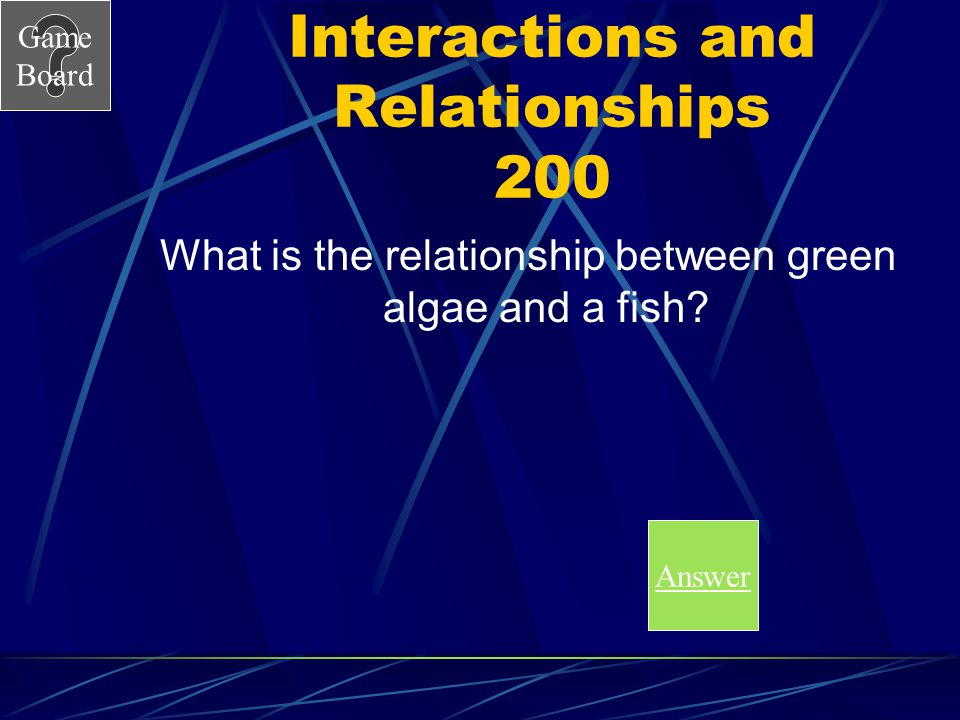 Game Board Interactions and Relationships 100A What is predator prey relationship
