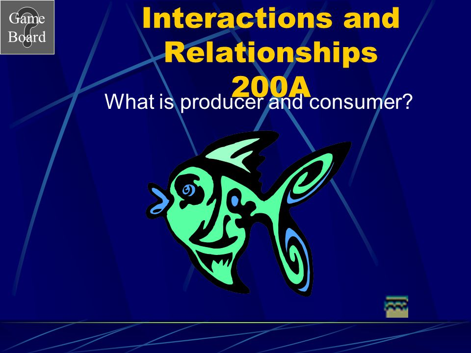 Game Board Interactions and Relationships 200 What is the relationship between green algae and a fish.