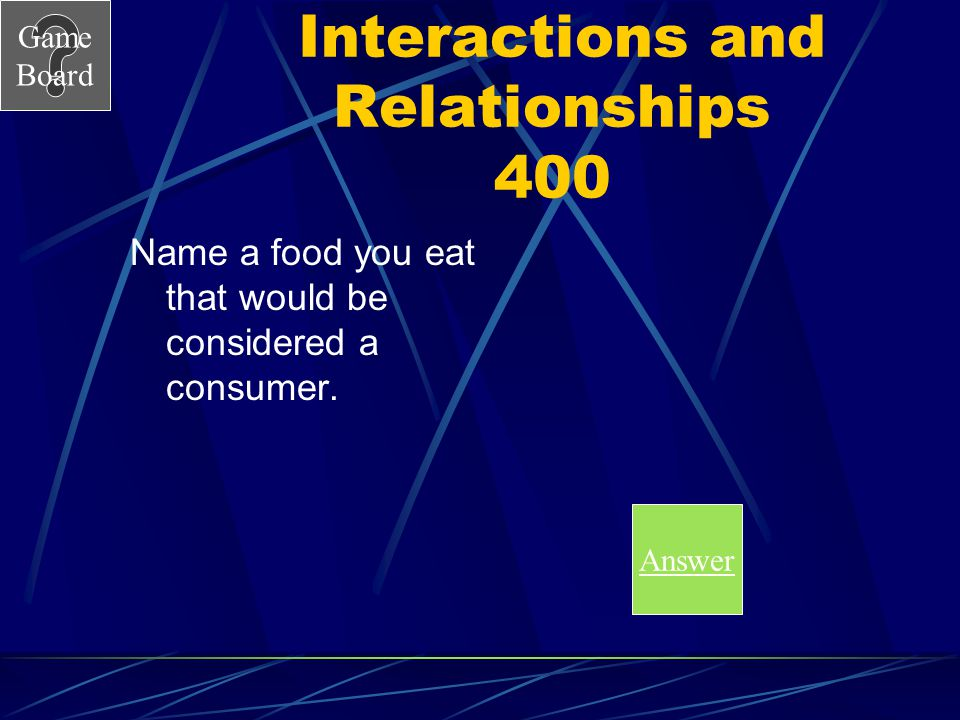 Game Board Interactions and Relationships 300A Answers will vary. Plant foods.